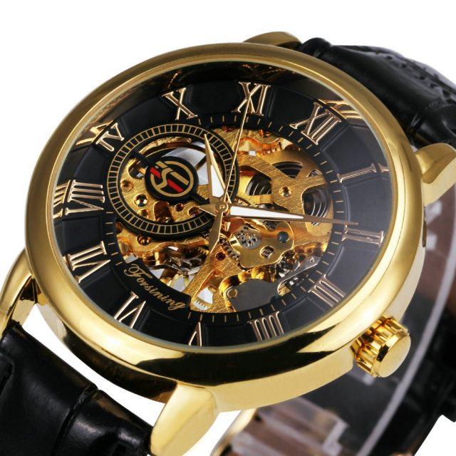 Mens' Black Gold Men Mechanical Watch
