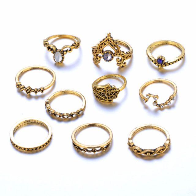 Bohemian Crown Design Rings Set, 10 Pcs/Set