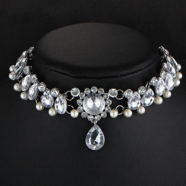 Beautiful Crystal Bead Choker with Water Drop Shaped Pedant