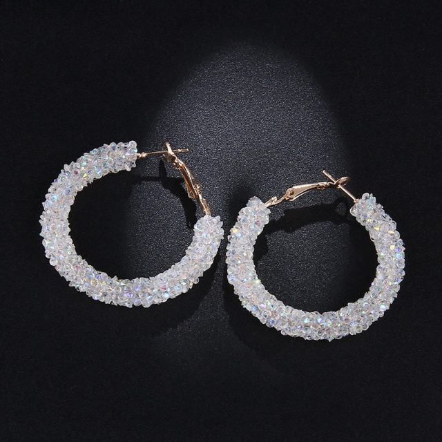 Women's Stylish Hoop Earrings with Colorful Crystals