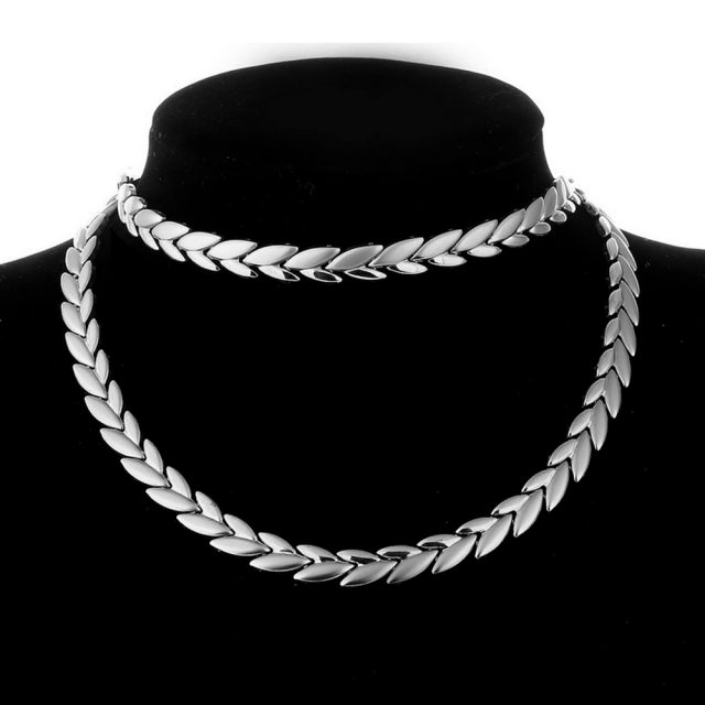 Two Tone Snake Chain Necklace and Bracelet Set