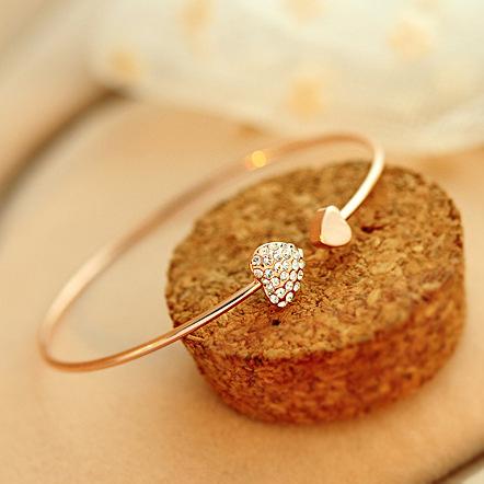 Adjustable Crystal Double Heart Bow Cuff Open Bracelet