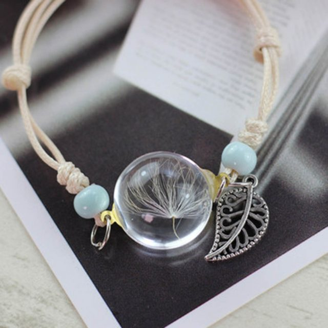 Boho Style Charm Bracelet with Glass Ball Decoration