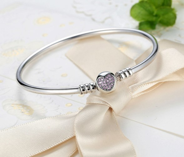 Minimalist Heart Bead Silver Bracelet
