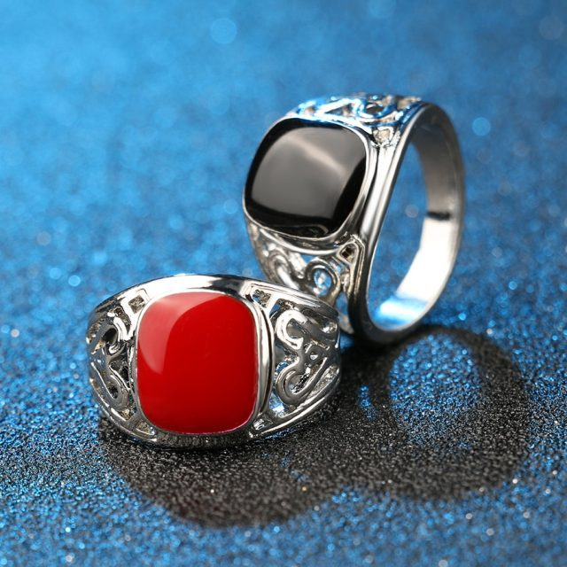 Black Enamel Fashion Men's Ring