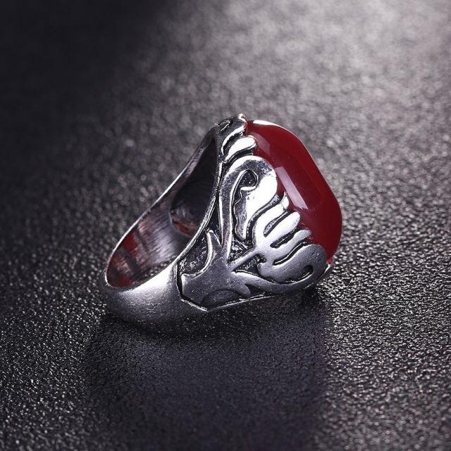 Men's Vintage Black Stone Silver Ring