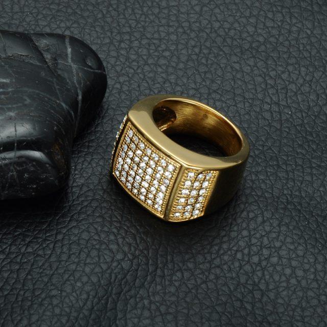 Men's Hip Hop Square Shaped Rhinestone Rings