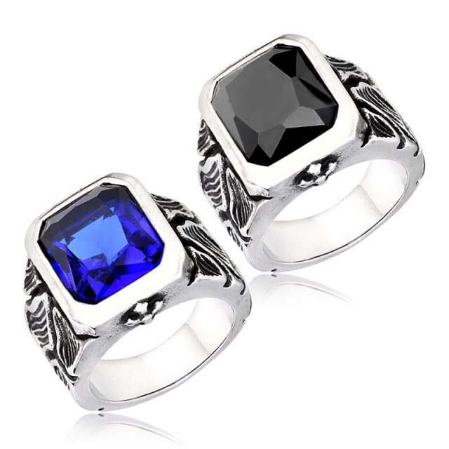 Classic Men's Stainless Steel Ring with Stone