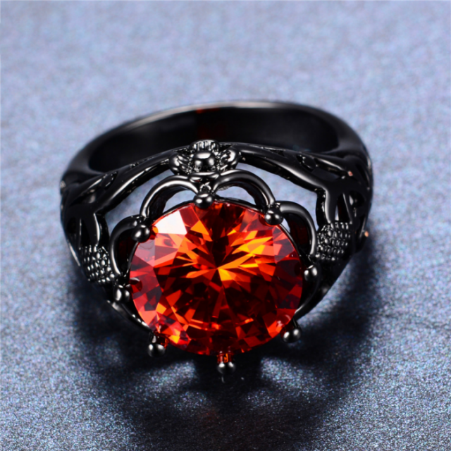 Men's Stylish Black Ring with Large Red Stone